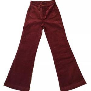 26 J Brand Merlot Red High Flare Bell Bottom pants